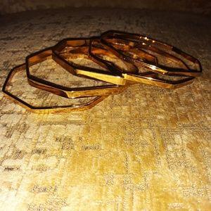 Jewelry - Set of 5 Octagonal Goldtone Bangle Bracelets